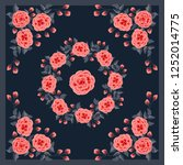 scarf floral print. russian... | Shutterstock .eps vector #1252014775