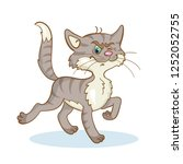 funny gray cat boldly goes to...   Shutterstock .eps vector #1252052755