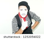 Mime Man Showing One Finger Up. ...