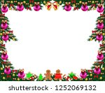 christmas tree frame with toys | Shutterstock .eps vector #1252069132