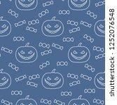 halloween 2019 vector seamless... | Shutterstock .eps vector #1252076548