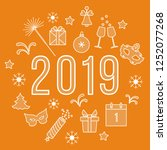 new year symbols. gifts ... | Shutterstock .eps vector #1252077268