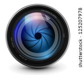 camera photo lens with shutter. | Shutterstock .eps vector #125207978