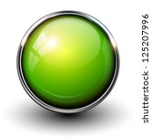 green shiny button with...