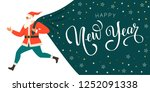 santa claus with a huge bag on... | Shutterstock .eps vector #1252091338