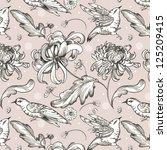 flowers and birds pattern | Shutterstock . vector #125209415