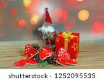 christmas ornaments on abstract ...   Shutterstock . vector #1252095535