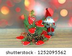 christmas ornaments on abstract ...   Shutterstock . vector #1252095562