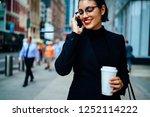 happy elegant female...   Shutterstock . vector #1252114222