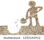 crowd of small symbolic figures ...   Shutterstock . vector #1252141912