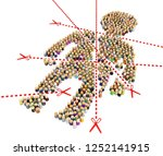 crowd of small symbolic figures ...   Shutterstock . vector #1252141915