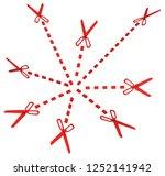red symbolic scissor lines cut...   Shutterstock . vector #1252141942