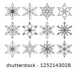 collection of 12 black lacy... | Shutterstock . vector #1252143028
