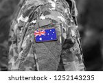 flag of australia on soldier... | Shutterstock . vector #1252143235