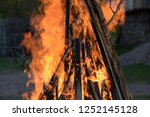 great ritual bonfire on the old ... | Shutterstock . vector #1252145128