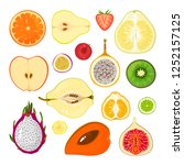 collection of fresh fruit... | Shutterstock .eps vector #1252157125