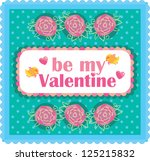 cute turquoise valentine with... | Shutterstock .eps vector #125215832