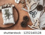 stylish rustic gift wrapped in...   Shutterstock . vector #1252160128