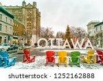 ottawa in winter christmas tree ... | Shutterstock . vector #1252162888
