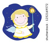 little christmas angel with a... | Shutterstock .eps vector #1252169572