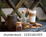 delicious layered cappuccino or ...   Shutterstock . vector #1252181455