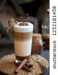 delicious layered cappuccino or ... | Shutterstock . vector #1252181458