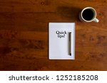 flat lay view of cup of coffee  ...   Shutterstock . vector #1252185208