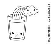 milk glass with rainbow kawaii | Shutterstock .eps vector #1252202635