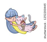 Little Girl With Cat Kawaii...