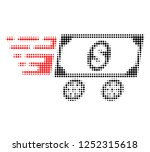 dollar delivery wagon halftone... | Shutterstock .eps vector #1252315618