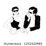young business couple drinking... | Shutterstock .eps vector #1252320985