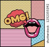 mouth saying omg pop art style   Shutterstock .eps vector #1252355392