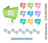 numbers  ribbon icon set with... | Shutterstock .eps vector #1252407085