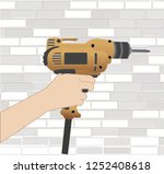 the men holding a drill to... | Shutterstock .eps vector #1252408618