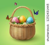 happy easter  colorful eggs in... | Shutterstock .eps vector #1252431445