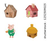 three little pigs vector icons | Shutterstock .eps vector #1252509025