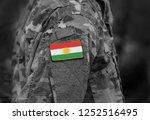 flag of kurdistan on soldiers... | Shutterstock . vector #1252516495