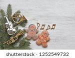 gingerbread man with music... | Shutterstock . vector #1252549732