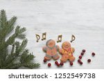 gingerbread man with music... | Shutterstock . vector #1252549738