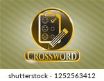 gold badge or emblem with... | Shutterstock .eps vector #1252563412