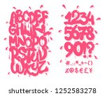 pink graffiti font. vector... | Shutterstock .eps vector #1252583278