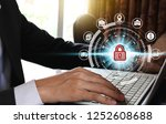businessman hand use laptop... | Shutterstock . vector #1252608688