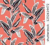 tropical vintage black and... | Shutterstock .eps vector #1252614472