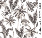 tropical vintage hawaiian beige ... | Shutterstock .eps vector #1252614478