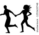 silhouette of a runing couple | Shutterstock .eps vector #1252620748