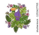 toucan bird is sitting on a...   Shutterstock .eps vector #1252627705