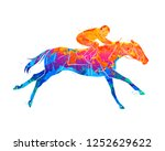 Stock vector abstract racing horse with jockey from splash of watercolors equestrian sport vector illustration 1252629622