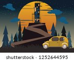 spooky hotel on mountains... | Shutterstock .eps vector #1252644595