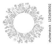 trendy wild flowers doodle... | Shutterstock .eps vector #1252658302