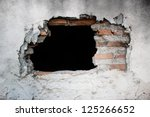 old concrete wall with broken... | Shutterstock . vector #125266652